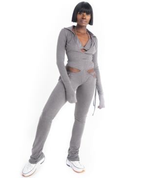 Grayscale Side-Cutout Pants