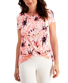Printed Twist-Front T-Shirt, Created for Macy's