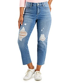 Petite Ripped Cropped Jeans, Created for Macy's