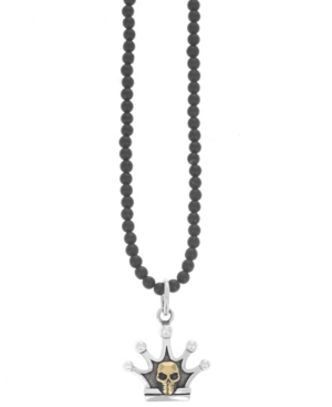 Men's Crown and Brass Alloy Skull Pendant on Onyx Necklace