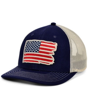 Local Crowns United States of America Torn and Tattered Flag Curved Trucker Cap