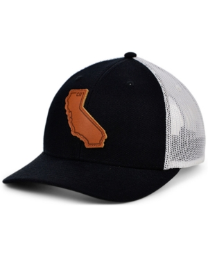 Local Crowns California Black White Leather State Patch Curved Trucker Cap