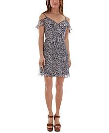 Juniors' Floral-Print Cold-Shoulder Ruffled Dress