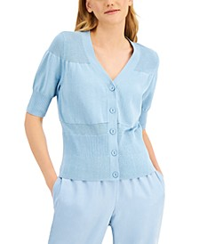 Mixed-Stitch Button-Down V-Neck Sweater, Created for Macy's