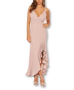 Asymmetric Frill Hem Gown