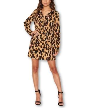Women's Leopard Print Shirt Dress