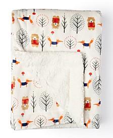 Baby Boys and Girls Bear Pattern Mink Sherpa Blanket