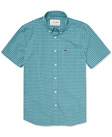 Men's Regula-Fit Button-Down Cotton Poplin Gingham Shirt