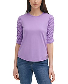 Cotton Gathered-Sleeves Top