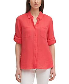 Solid Button-Down Gauze Top