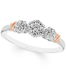 Diamond Triple Cluster Ring (1/4 ct. t.w.) in 10k Rose & White Gold