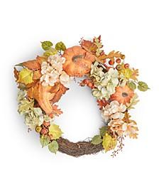 Pumpkin and Leaves Asymmetrical Harvest Wreath, Created for Macy's