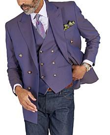 Men's Classic-Fit Blue & Tan Jacquard Dinner Jacket & Vest