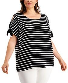 Plus Size Striped Cold-Shoulder Top