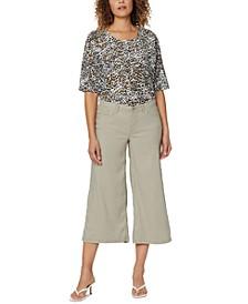 Wide-Leg Crop Pants in Stretch Linen