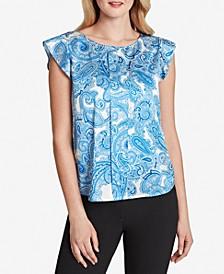 Paisley-Print Cap-Sleeve Top