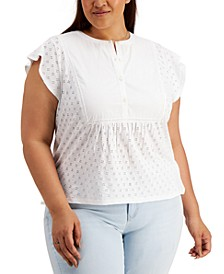Plus Size Cotton Eyelet Top, Created for Macy's
