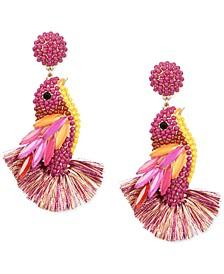 Gold-Tone Bead Cluster, Navette-Stone & Fringe Bird Drop Earrings, Created for Macy's