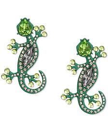 Silver-Tone Crystal & Imitation Pearl Green Lizard Drop Earrings, Created for Macy's