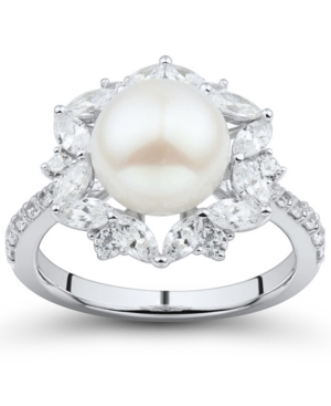 Cultured Freshwater Pearl (9mm) & Cubic Zirconia Halo Ring in Sterling Silver