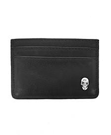 Men's Horizontal Open Card Holder with Silver Skull