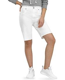 Ultra-Soft Denim High Rise Bermuda Shorts
