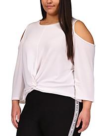 Plus Size Cold-Shoulder Twist-Hem Top