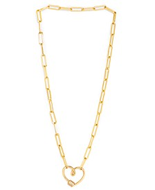 """Cubic Zirconia Link Heart 18"""" Necklace in Fine Yellow Gold or Rose Gold Plate"""