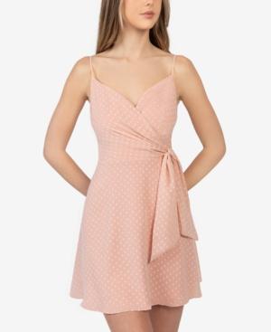Juniors' Textured Surplice-Neck Dress