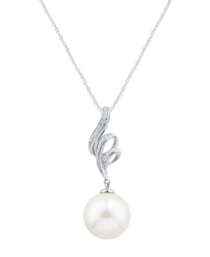 """White Ming Pearl (12mm) & Diamond (1/20 ct. t.w.) Swirl 18"""" Pendant Necklace in 14k White Gold"""