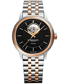Men's Swiss Automatic Maestro Rose Gold PVD Stainless Steel Bracelet Watch 39mm