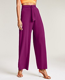 Solid Tie-Front Wide-Leg Pants, Created for Macy's
