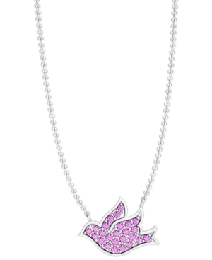 Blue or Pink Sapphire Pave 1/4 ct. t.w. Flying Dove Necklace in Sterling Silver