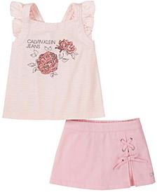 Toddler Girls Stripe Tank Top and Denim Skort Set, 2 Piece