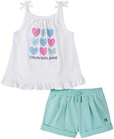 Toddler Girls Baby Doll Top and Shorts Set, 2 Piece