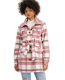 Juniors' Plaid Belted Shirt Jacket, Created for Macy's