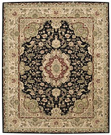"Wool and Silk 2000 2028 Black 5'6"" x 8'6"" Area Rug"