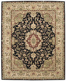 "Nourison Oval Area Rug, Wool & Silk 2000 2028 Black 7'6""x9'6"""