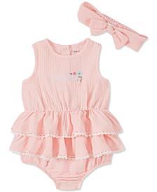 Baby Girls 2-Pc. Cotton Gauze Bodysuit & Headband Set