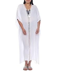 Plus Size Crochet-Trimmed Maxi Dress Cover-Up