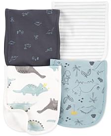 Baby Boys 4-Pack Dinosaur Burp Cloths