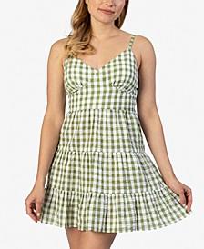 Juniors' Seersucker Gingham Fit & Flare Dress