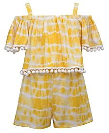 Big Girls Tie Dye Cold Shoulder Knit Top and Short Set, 2 Piece