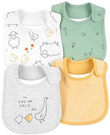 Baby Boys or Girls 4-Pack Animal Teething Bibs