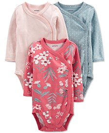 Baby Girls 3-Pack Long Sleeve Side-Snap Bodysuits