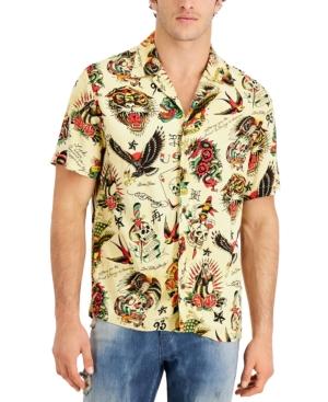 Men's Modern-Fit Tattoo-Print Camp Shirt