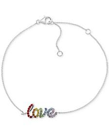 Rainbow Crystal Love Link Bracelet in Sterling Silver