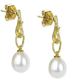 Cultured Freshwater Pearl (8-1/2mm) Dangle Drop Earrings in 14k Gold