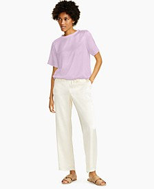 Petite Short-Sleeve Satin Top, Created for Macy's