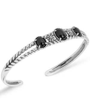 by Carolyn Pollack Sterling Silver Openwork Cuff Bracelet in Black Agate